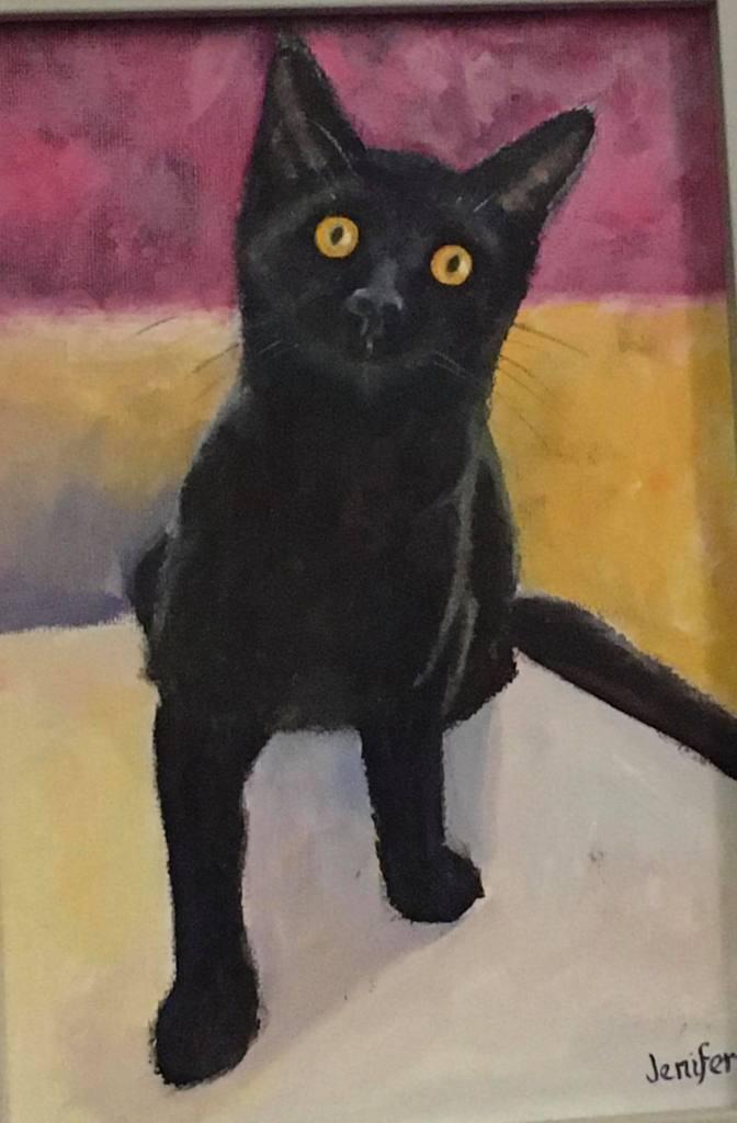 Little black kitten called Maud in oils